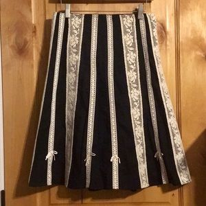 Anthro ODILLE Black Ivory Lace A-Line Skirt EUC 2